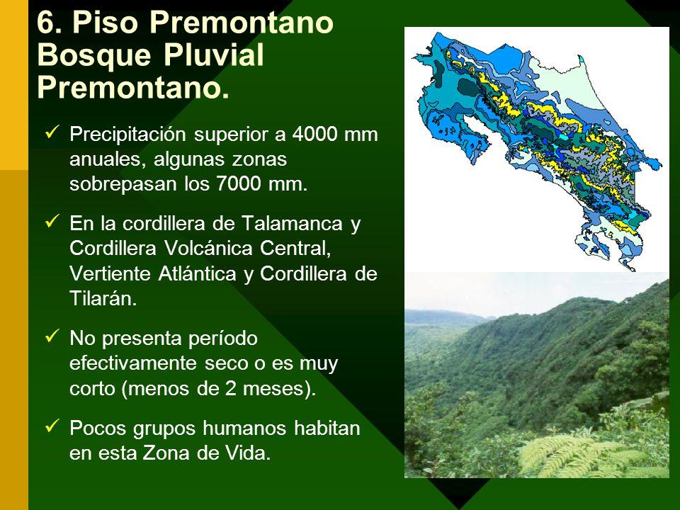 6. Piso Premontano Bosque Pluvial Premontano. Precipitación superior a 4000 mm anuales, algunas zonas sobrepasan los 7000 mm. En la cordillera de Tala