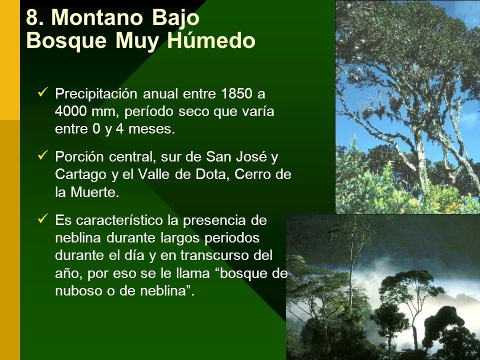 8. Montano Bajo Bosque Muy Húmedo Precipitación anual entre 1850 a 4000 mm, período seco que varía entre 0 y 4 meses. Porción central, sur de San José