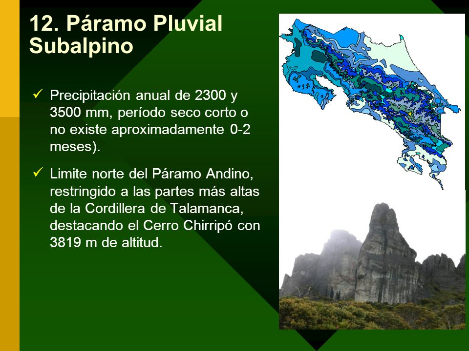 12. Páramo Pluvial Subalpino Precipitación anual de 2300 y 3500 mm, período seco corto o no existe aproximadamente 0-2 meses). Limite norte del Páramo
