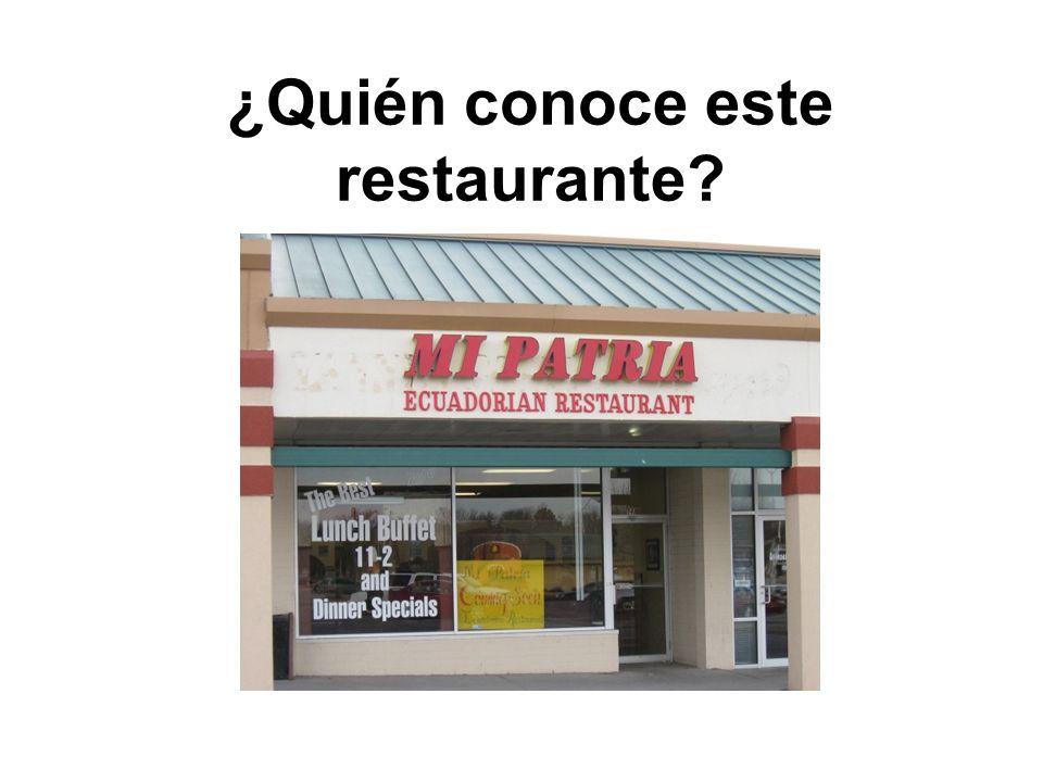 ¿Quién conoce este restaurante?