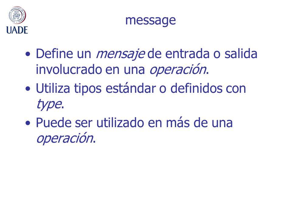message Define un mensaje de entrada o salida involucrado en una operación. Utiliza tipos estándar o definidos con type. Puede ser utilizado en más de