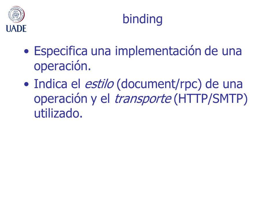 binding Especifica una implementación de una operación. Indica el estilo (document/rpc) de una operación y el transporte (HTTP/SMTP) utilizado.