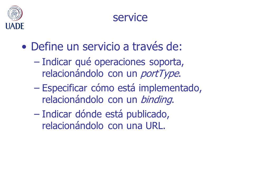 service Define un servicio a través de: –Indicar qué operaciones soporta, relacionándolo con un portType. –Especificar cómo está implementado, relacio