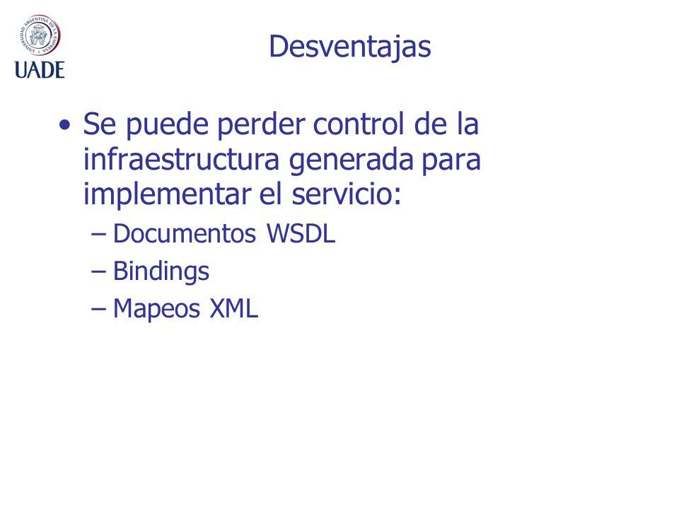 Desventajas Se puede perder control de la infraestructura generada para implementar el servicio: –Documentos WSDL –Bindings –Mapeos XML