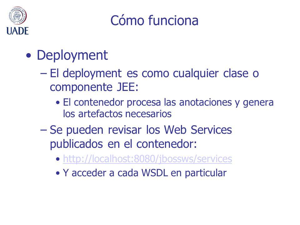 Cómo funciona Deployment –El deployment es como cualquier clase o componente JEE: El contenedor procesa las anotaciones y genera los artefactos necesa