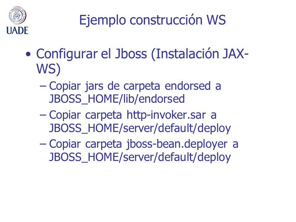 Ejemplo construcción WS Configurar el Jboss (Instalación JAX- WS) –Copiar jars de carpeta endorsed a JBOSS_HOME/lib/endorsed –Copiar carpeta http-invo