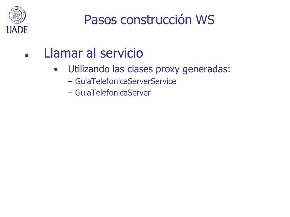 Pasos construcción WS Llamar al servicio Utilizando las clases proxy generadas: –GuiaTelefonicaServerService –GuiaTelefonicaServer