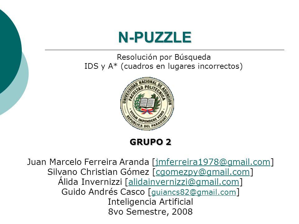 Descripción del Problema 13 425 786 El problema consiste en la resolución de puzzles de mover fichas.