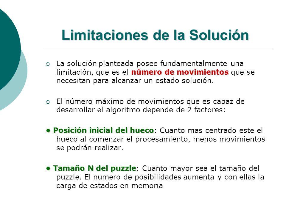 Limitaciones de la Solución número de movimientos La solución planteada posee fundamentalmente una limitación, que es el número de movimientos que se