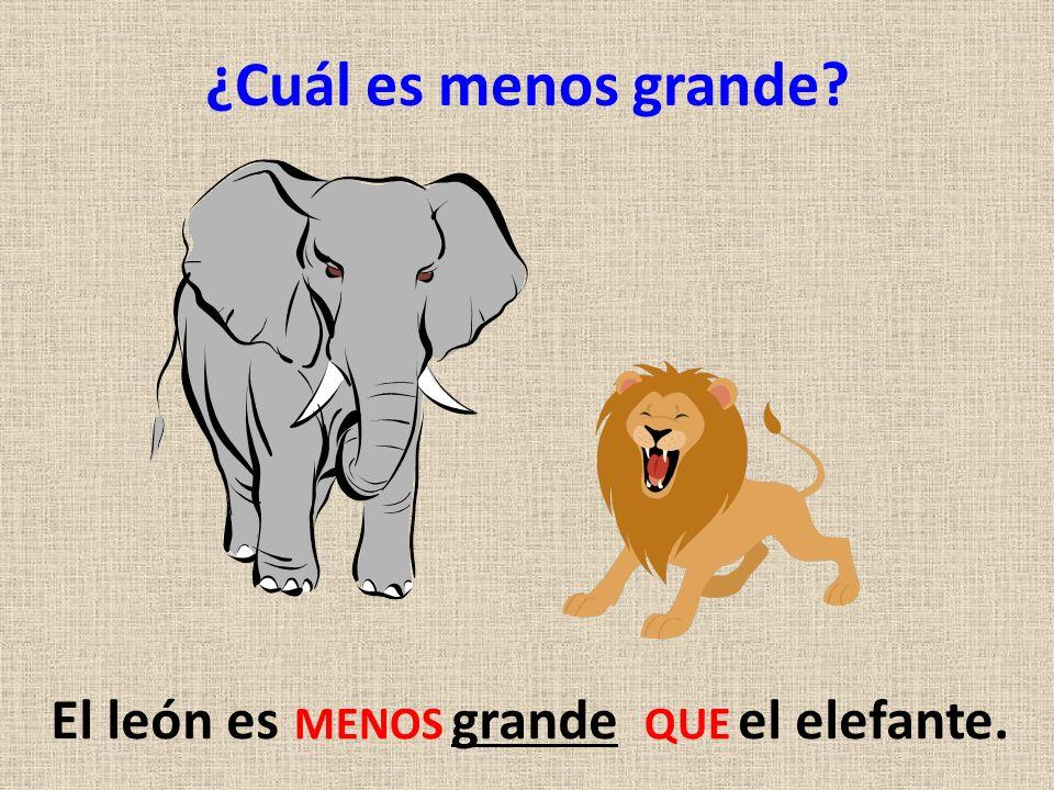¿Cuál es menos grande? El león es grande el elefante. MENOS QUE