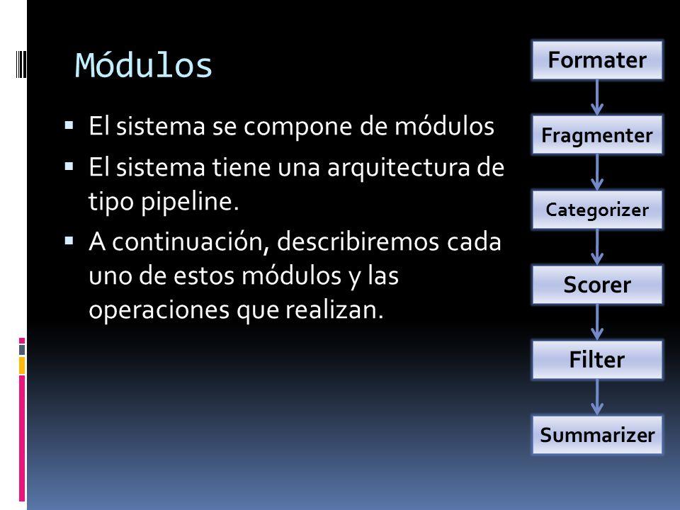 Módulos El sistema se compone de módulos El sistema tiene una arquitectura de tipo pipeline. A continuación, describiremos cada uno de estos módulos y