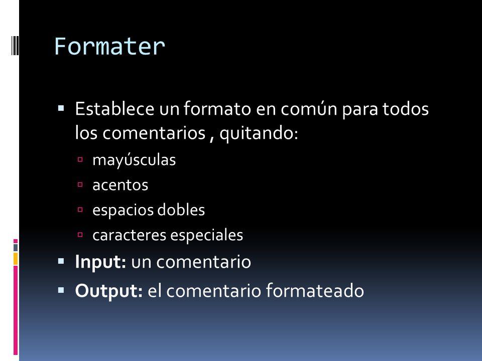 Formater Establece un formato en común para todos los comentarios, quitando: mayúsculas acentos espacios dobles caracteres especiales Input: un comentario Output: el comentario formateado