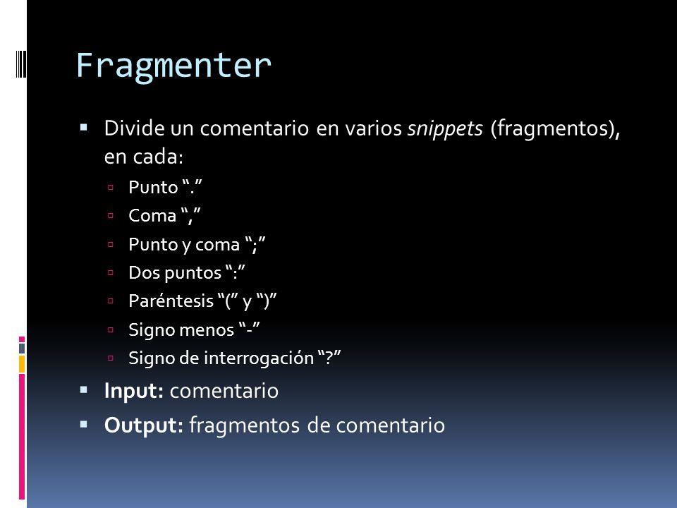 Fragmenter Divide un comentario en varios snippets (fragmentos), en cada: Punto. Coma, Punto y coma ; Dos puntos : Paréntesis ( y ) Signo menos - Sign