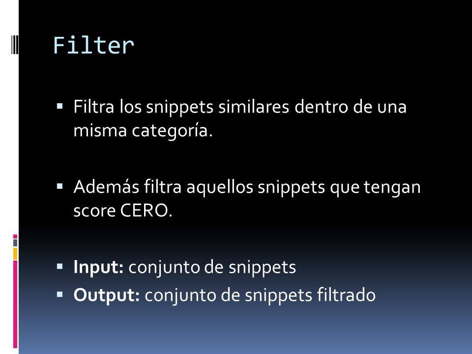 Filter Filtra los snippets similares dentro de una misma categoría. Además filtra aquellos snippets que tengan score CERO. Input: conjunto de snippets