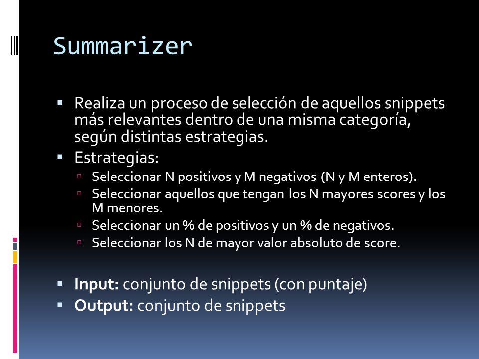 Summarizer Realiza un proceso de selección de aquellos snippets más relevantes dentro de una misma categoría, según distintas estrategias. Estrategias