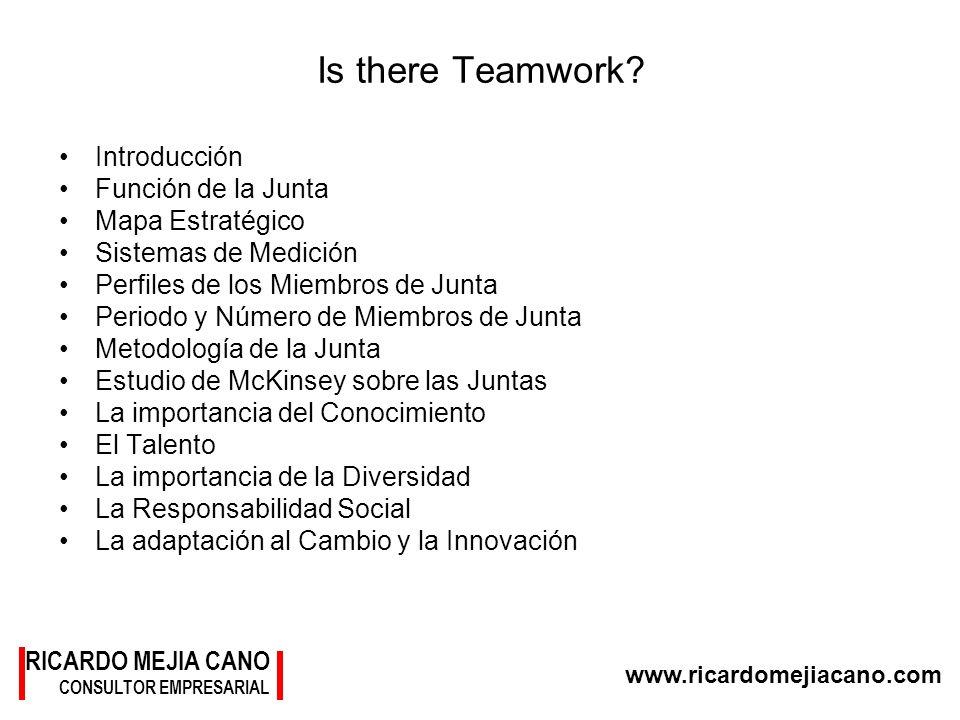 RICARDO MEJIA CANO CONSULTOR EMPRESARIAL www.ricardomejiacano.com Is there Teamwork? Introducción Función de la Junta Mapa Estratégico Sistemas de Med