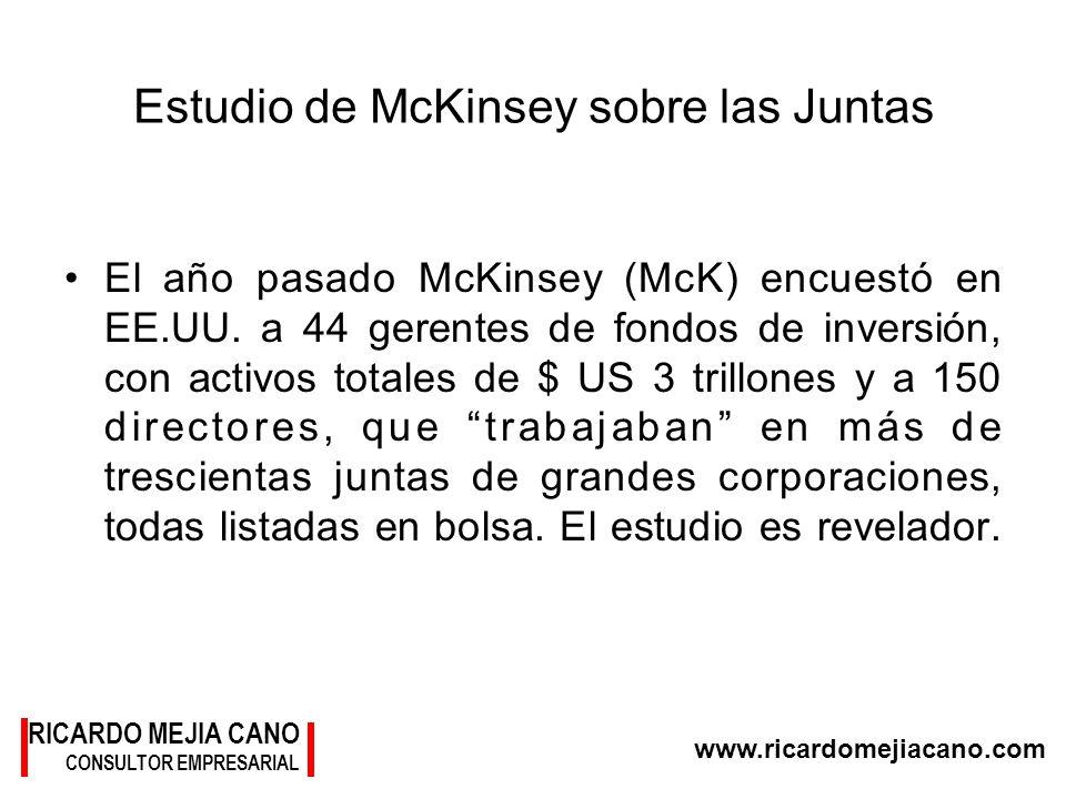 RICARDO MEJIA CANO CONSULTOR EMPRESARIAL www.ricardomejiacano.com Estudio de McKinsey sobre las Juntas El año pasado McKinsey (McK) encuestó en EE.UU.