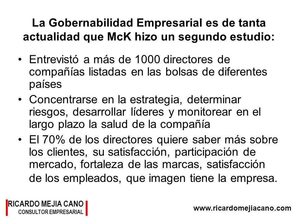 RICARDO MEJIA CANO CONSULTOR EMPRESARIAL www.ricardomejiacano.com La Gobernabilidad Empresarial es de tanta actualidad que McK hizo un segundo estudio