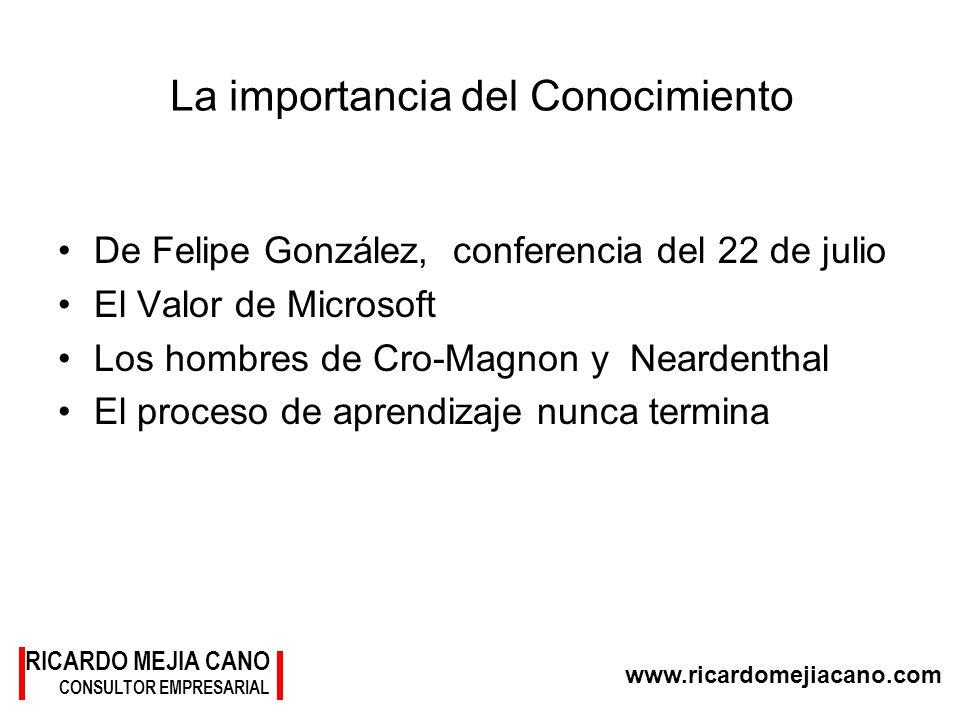 RICARDO MEJIA CANO CONSULTOR EMPRESARIAL www.ricardomejiacano.com La importancia del Conocimiento De Felipe González, conferencia del 22 de julio El V