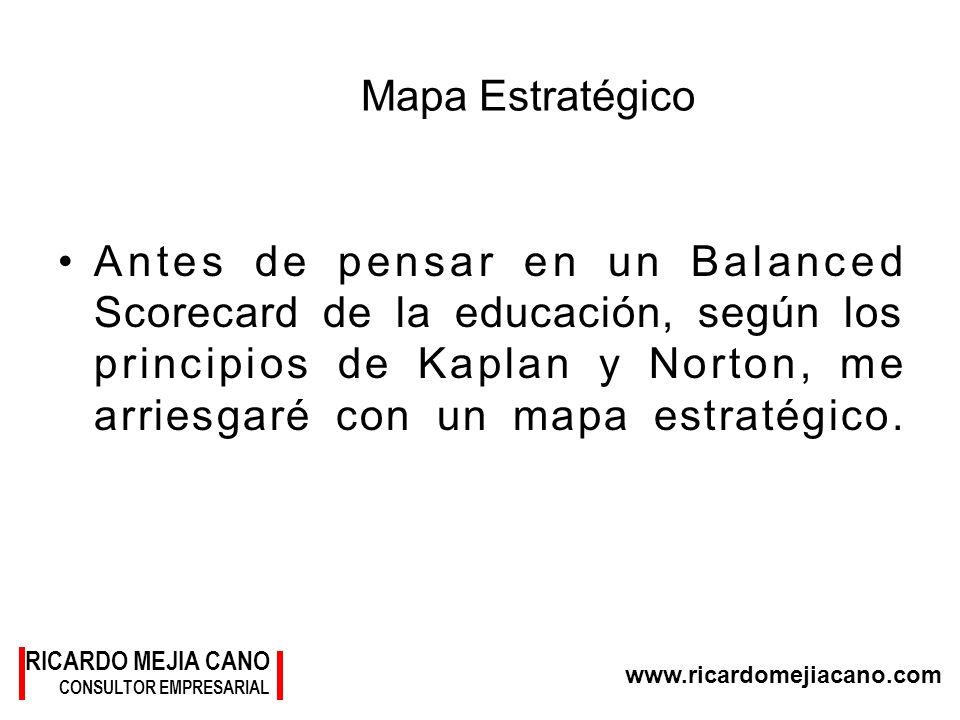 RICARDO MEJIA CANO CONSULTOR EMPRESARIAL www.ricardomejiacano.com Mapa Estratégico Antes de pensar en un Balanced Scorecard de la educación, según los