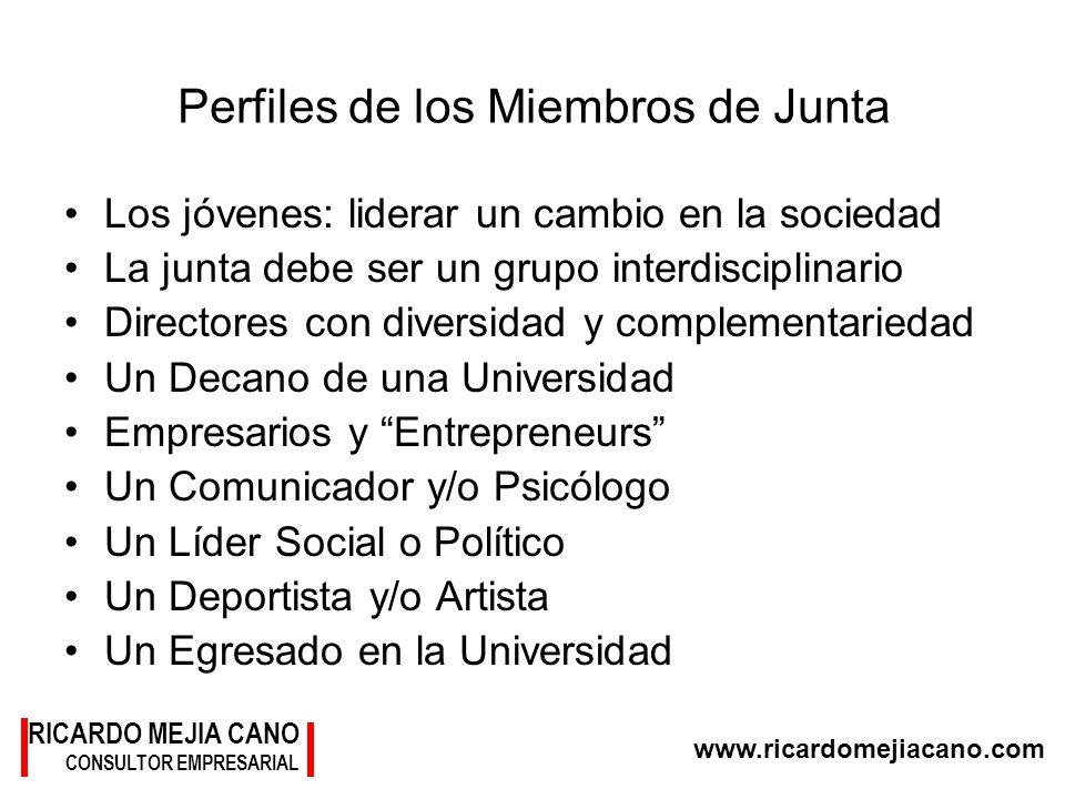 RICARDO MEJIA CANO CONSULTOR EMPRESARIAL www.ricardomejiacano.com Perfiles de los Miembros de Junta Los jóvenes: liderar un cambio en la sociedad La j