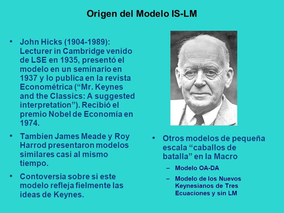 Origen del Modelo IS-LM John Hicks (1904-1989): Lecturer in Cambridge venido de LSE en 1935, presentó el modelo en un seminario en 1937 y lo publica e