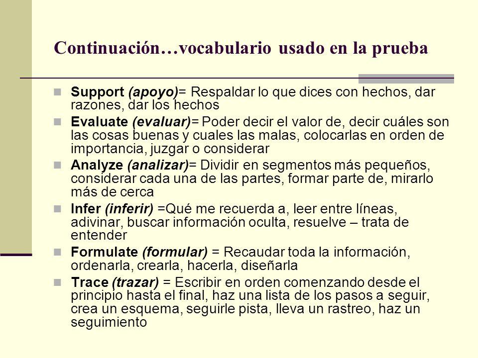 ¿Cuál es el vocabulario usado en la prueba? Explain (Explicar) = Contar sobre algo, discutir, explicar el cómo y el por qué de las cosas Summarize (Re