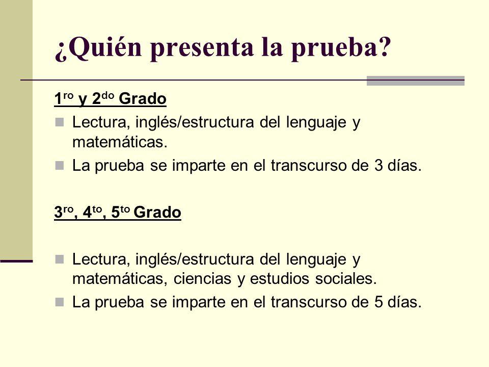 ¿Quién presenta la prueba.1 ro y 2 do Grado Lectura, inglés/estructura del lenguaje y matemáticas.