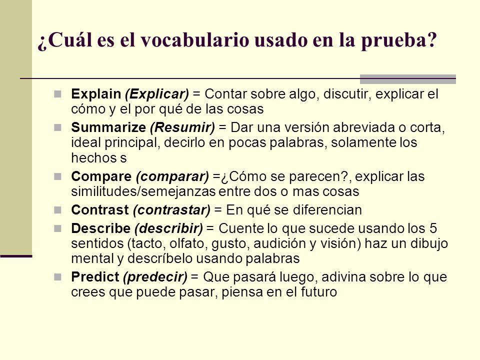 ¿Cuál es el vocabulario usado en la prueba.