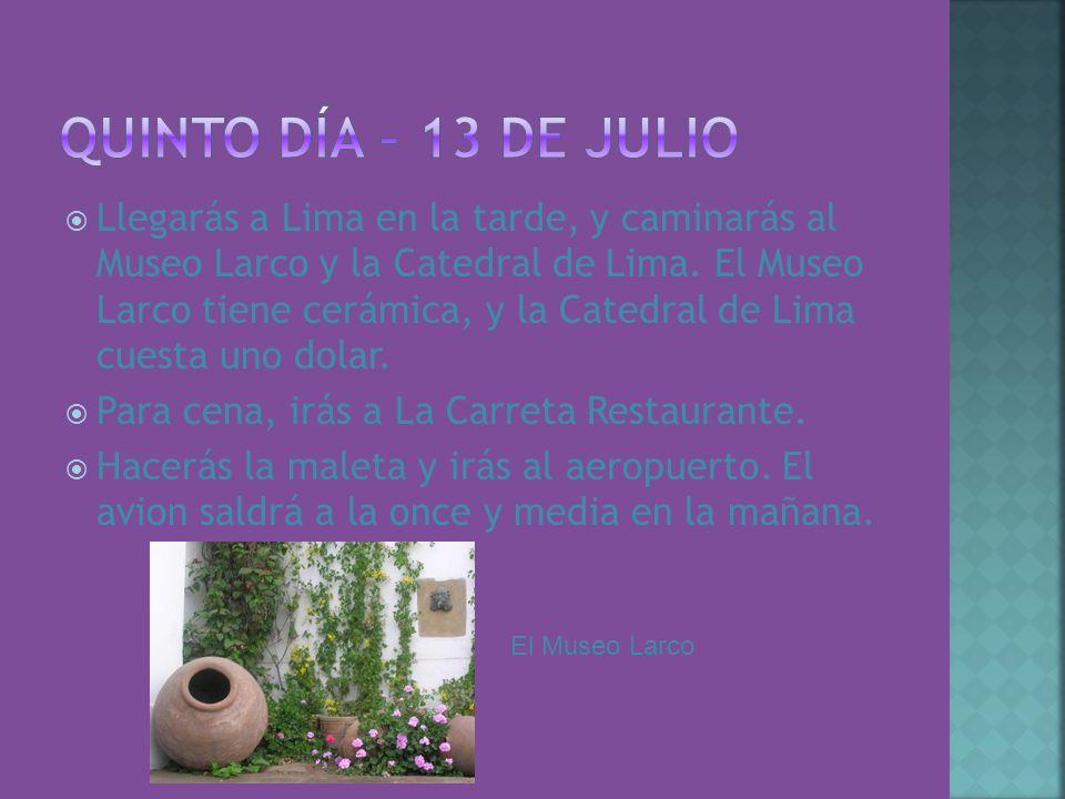 Llegarás a Lima en la tarde, y caminarás al Museo Larco y la Catedral de Lima. El Museo Larco tiene cerámica, y la Catedral de Lima cuesta uno dolar.