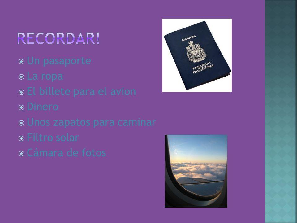 Un pasaporte La ropa El billete para el avion Dinero Unos zapatos para caminar Filtro solar Cámara de fotos
