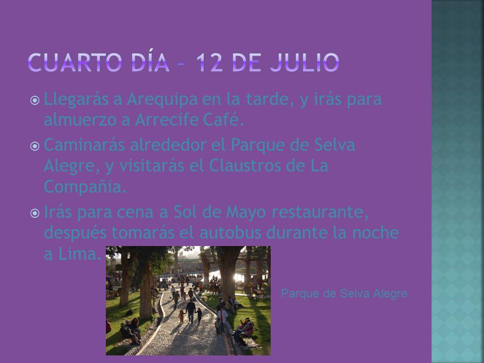 Llegarás a Arequipa en la tarde, y irás para almuerzo a Arrecife Café. Caminarás alrededor el Parque de Selva Alegre, y visitarás el Claustros de La C