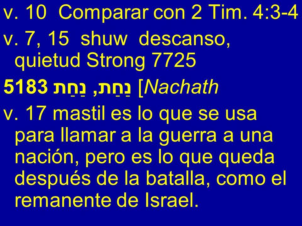 v. 10 Comparar con 2 Tim. 4:3-4 v. 7, 15 shuw descanso, quietud Strong 7725 5183 נַחַת, נַחַת [Nachath v. 17 mastil es lo que se usa para llamar a la