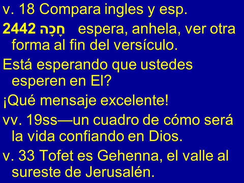 v. 18 Compara ingles y esp. 2442 חָכָה espera, anhela, ver otra forma al fin del versículo. Está esperando que ustedes esperen en El? ¡Qué mensaje exc