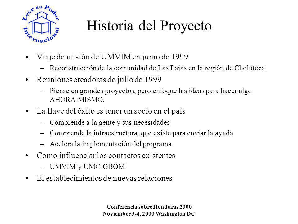 Conferencia sobre Honduras 2000 Noviember 3-4, 2000 Washington DC Historia del Proyecto Viaje de misión de UMVIM en junio de 1999 –Reconstrucción de la comunidad de Las Lajas en la región de Choluteca.