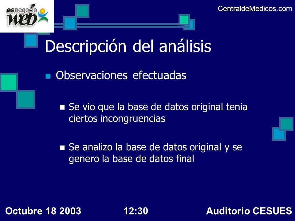 Descripción del análisis Observaciones efectuadas Se vio que la base de datos original tenia ciertos incongruencias Se analizo la base de datos origin