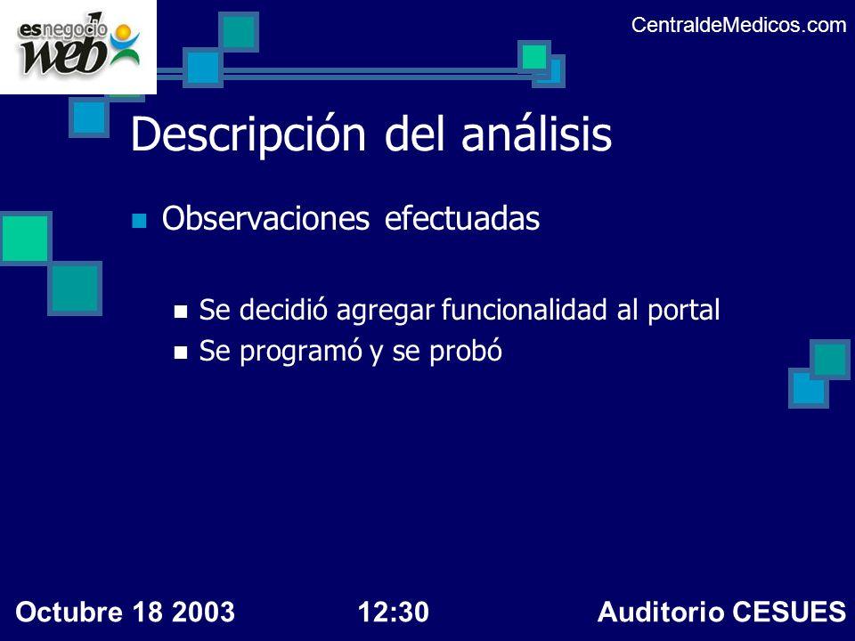Descripción del análisis Observaciones efectuadas Se decidió agregar funcionalidad al portal Se programó y se probó CentraldeMedicos.com Octubre 18 20