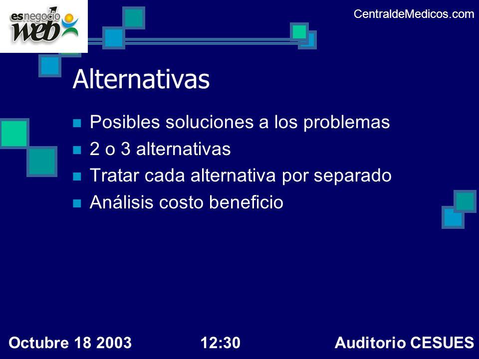 Alternativas Posibles soluciones a los problemas 2 o 3 alternativas Tratar cada alternativa por separado Análisis costo beneficio CentraldeMedicos.com