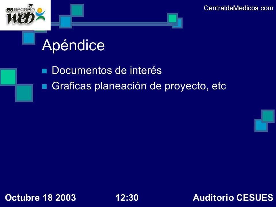 Apéndice Documentos de interés Graficas planeación de proyecto, etc CentraldeMedicos.com Octubre 18 200312:30 Auditorio CESUES