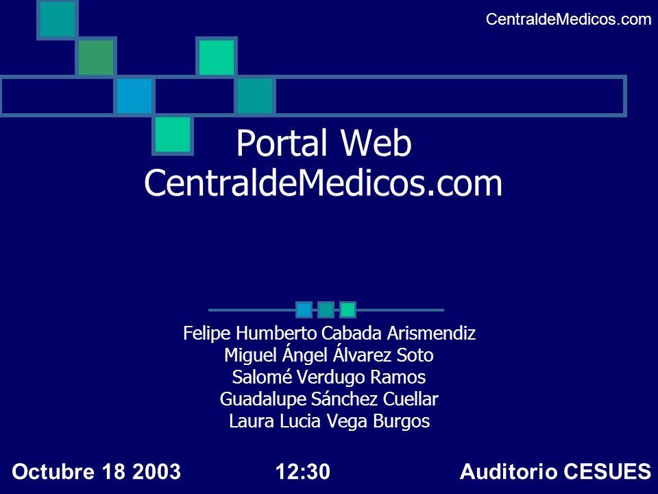 Descripción del análisis Observaciones efectuadas Se decidió agregar funcionalidad al portal Se programó y se probó CentraldeMedicos.com Octubre 18 200312:30 Auditorio CESUES