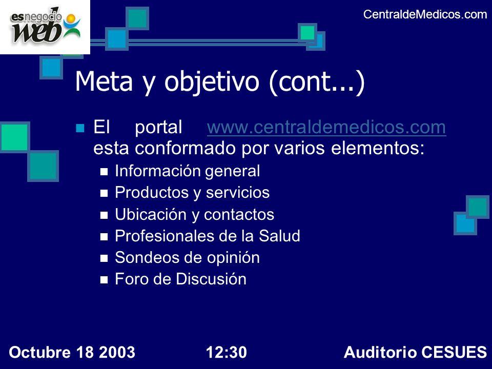Meta y objetivo (cont...) El portal www.centraldemedicos.com esta conformado por varios elementos:www.centraldemedicos.com Información general Product