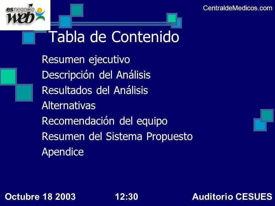Descripción del análisis Prototipos de análisis desarrollados Los diagramas entidad relación Las interfases generadas en el diseño CentraldeMedicos.com Octubre 18 200312:30 Auditorio CESUES