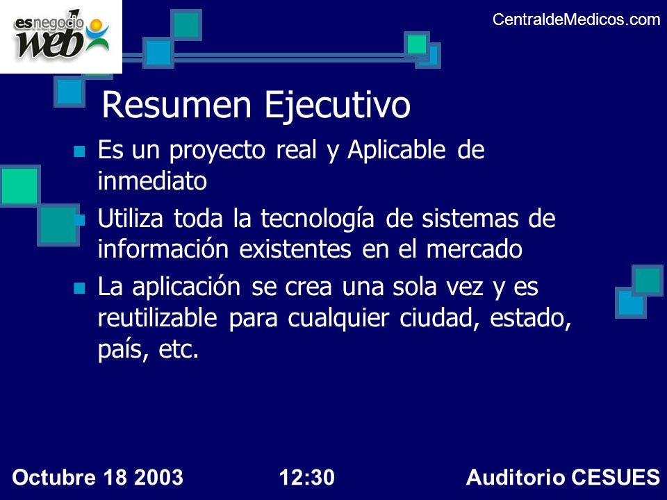 Resumen del sistema Presentación Flash Sumariza las características de la recomendación Enfoque a la factibilidad ventajas y desventajas de la recomendación CentraldeMedicos.com Octubre 18 200312:30 Auditorio CESUES