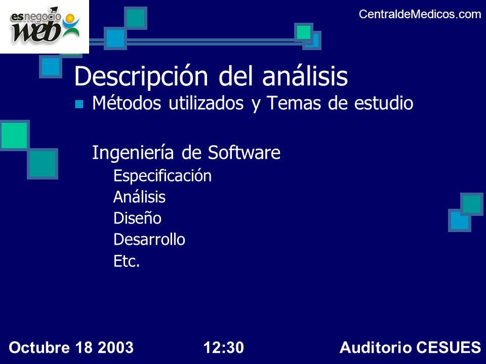 Descripción del análisis Métodos utilizados y Temas de estudio Ingeniería de Software Especificación Análisis Diseño Desarrollo Etc. CentraldeMedicos.
