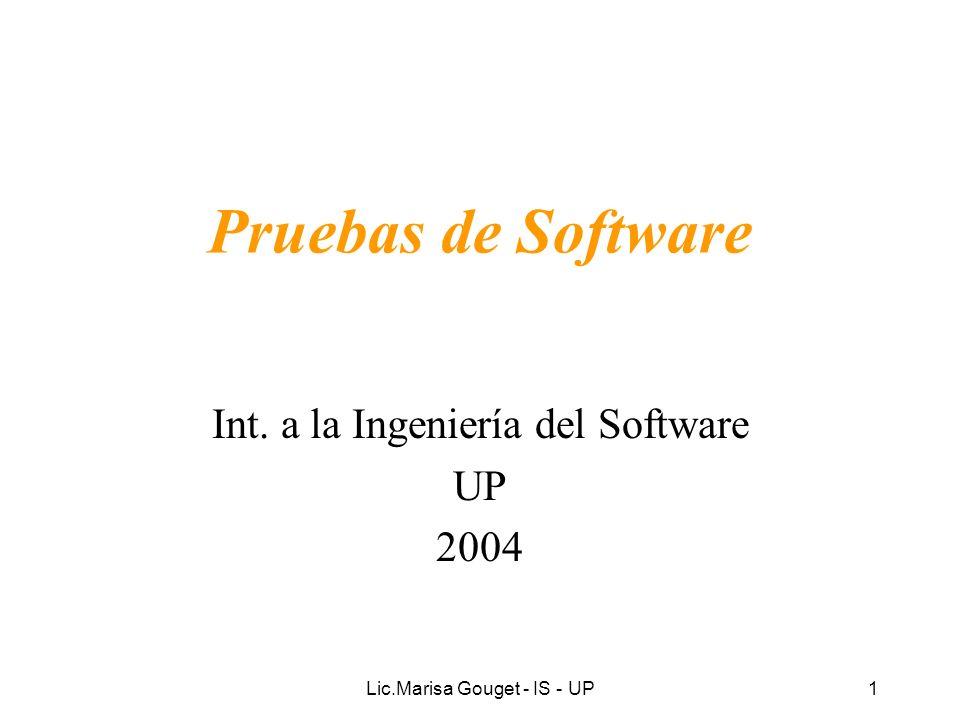Lic.Marisa Gouget - IS - UP42 Actividades de la Prueba Planificar la prueba: –Describir una estrategia de prueba.
