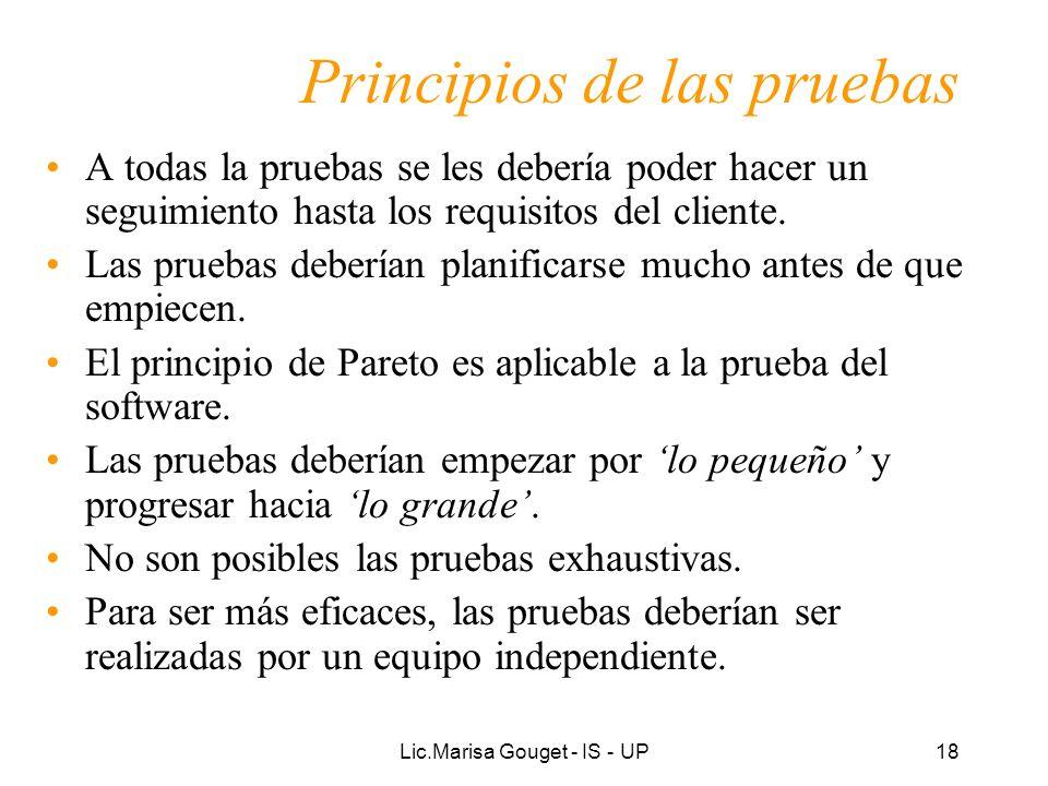 Lic.Marisa Gouget - IS - UP18 Principios de las pruebas A todas la pruebas se les debería poder hacer un seguimiento hasta los requisitos del cliente.