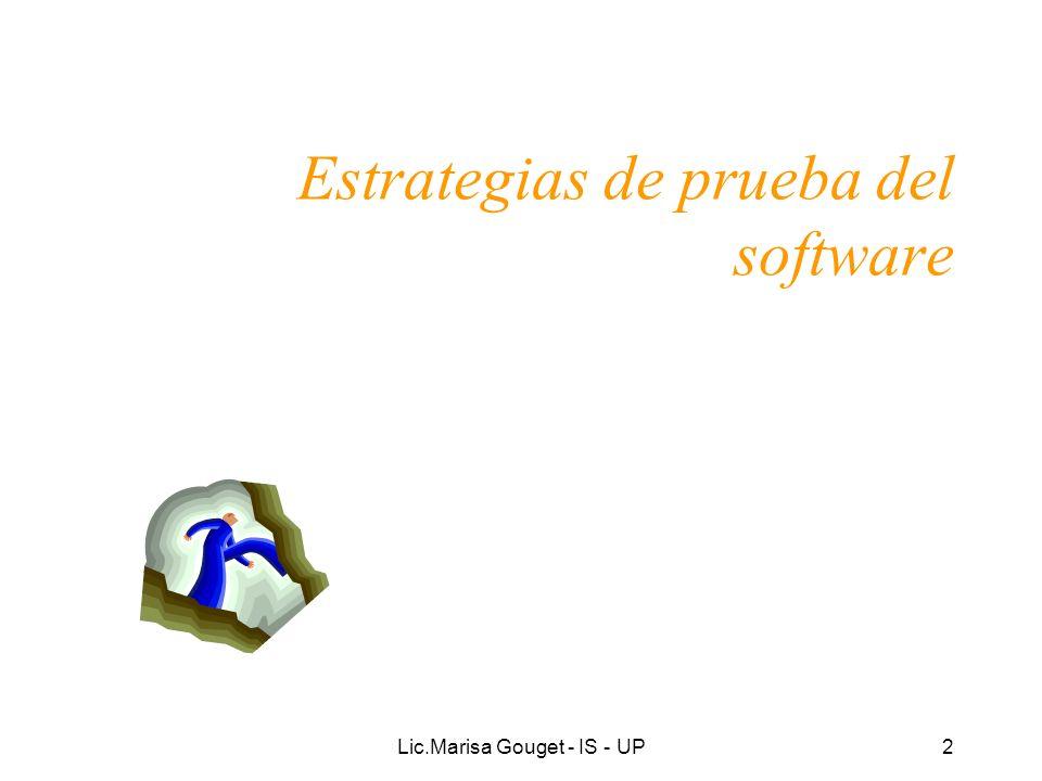Lic.Marisa Gouget - IS - UP43 Actividades de la Prueba Realizar pruebas de integración: –Realizar las pruebas de integración.