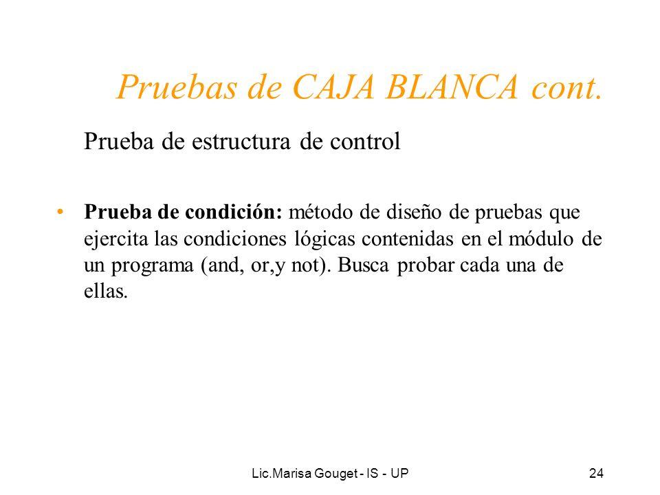Lic.Marisa Gouget - IS - UP24 Pruebas de CAJA BLANCA cont. Prueba de estructura de control Prueba de condición: método de diseño de pruebas que ejerci