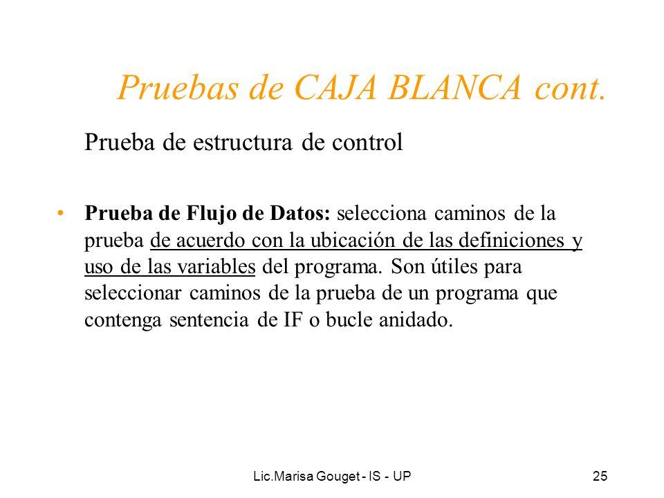 Lic.Marisa Gouget - IS - UP25 Pruebas de CAJA BLANCA cont. Prueba de estructura de control Prueba de Flujo de Datos: selecciona caminos de la prueba d