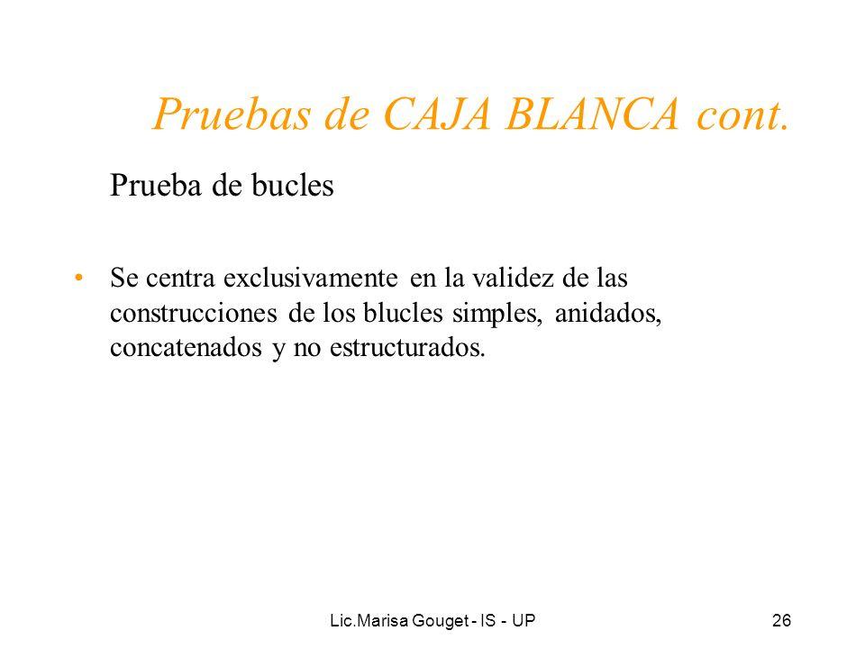 Lic.Marisa Gouget - IS - UP26 Pruebas de CAJA BLANCA cont. Prueba de bucles Se centra exclusivamente en la validez de las construcciones de los blucle